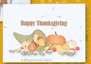 Happy Thanksgiving Floral Seed Paper Holiday Card W/Stock Message