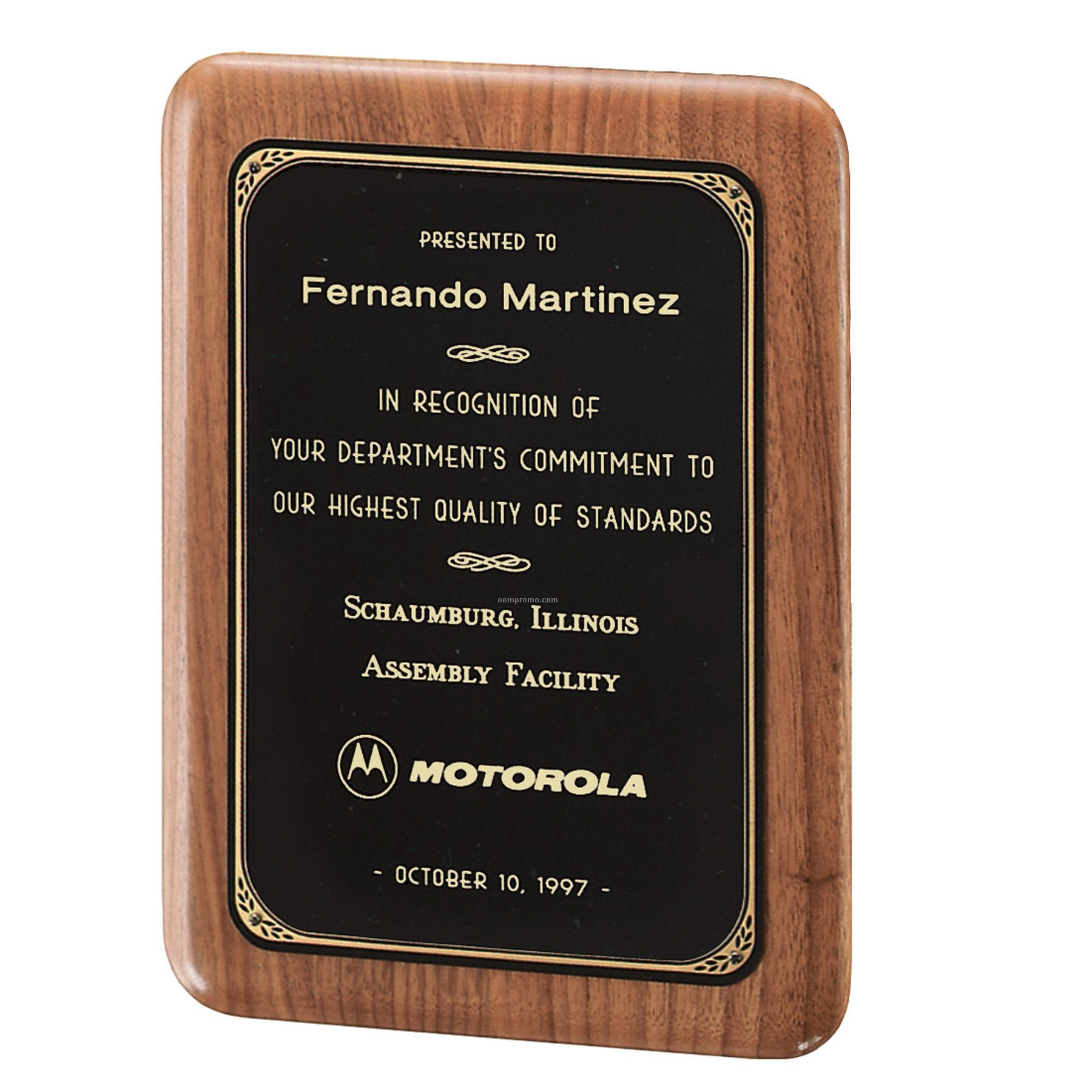 American Walnut Plaque W/ Black Brass Plate & Printed Border