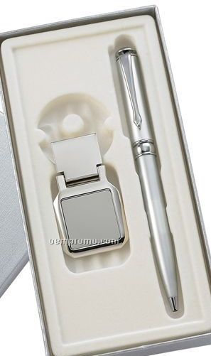 Ballpoint Pen With Square Money Clip Gift Set
