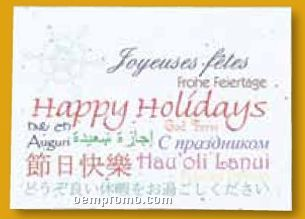 Languages Floral Seed Paper Holiday Card W/ Stock Message