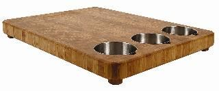 Bamboo 3-bowl Prep Board With 4 Legs