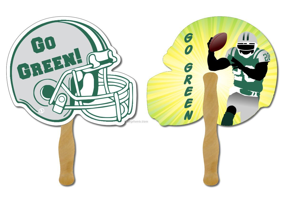 Hand Fans - Printed 2 Sides 4 Color Process- With Wooden Stick - Helmut