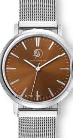 Men's Silver Finished Watch W/ Mesh Grain Steel Bracelet