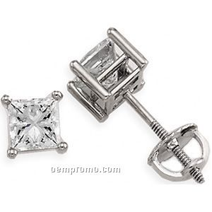 Ladies' 14kw 1 Ct Tw Diamond Square Princess Earring (4 Prong Screwback)