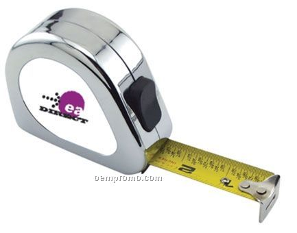 """Chrome English Scale Power Tape Measure W/ Laminated Label (25'x1"""" Blade)"""