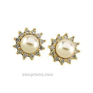 Ladies' 14ky 6mm Cultured Pearl & 1/3 Ct Tw Diamond Round Earring