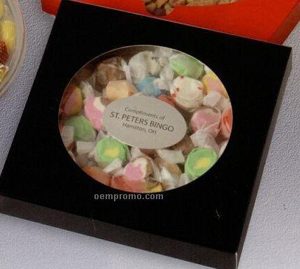 Salt Water Or Peppermint Taffy-plastic Dish-black Sleeve W/ Circular Window