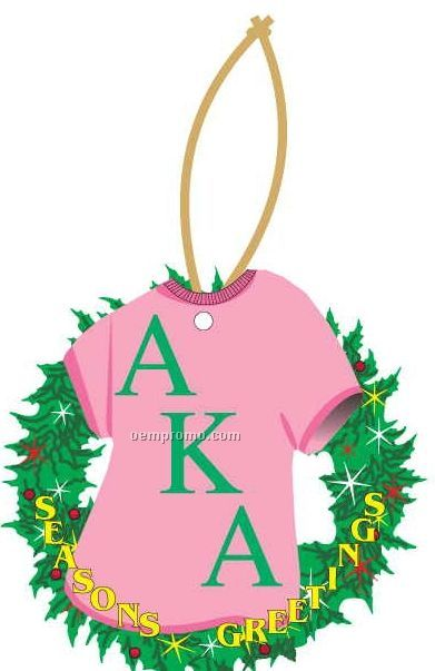 Alpha Kappa Alpha Sorority Shirt Wreath Ornament/ Mirror Back (10 Sq. Inch)