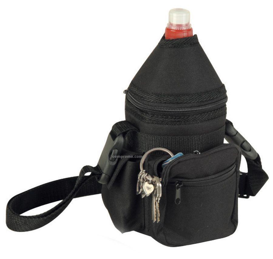 "Black Two-way Bottle Holder Pack W/ Side Flap Pocket (3-1/2""X4-1/2""X8-1/2"")"
