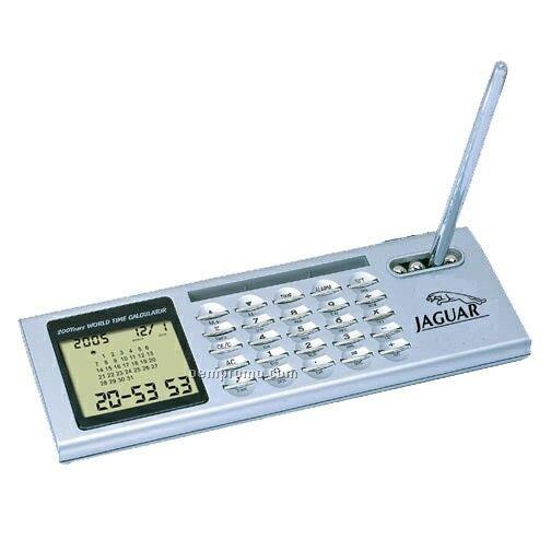 Desk Top Calendar / Clock / Calculator With Pen Holder And Pen
