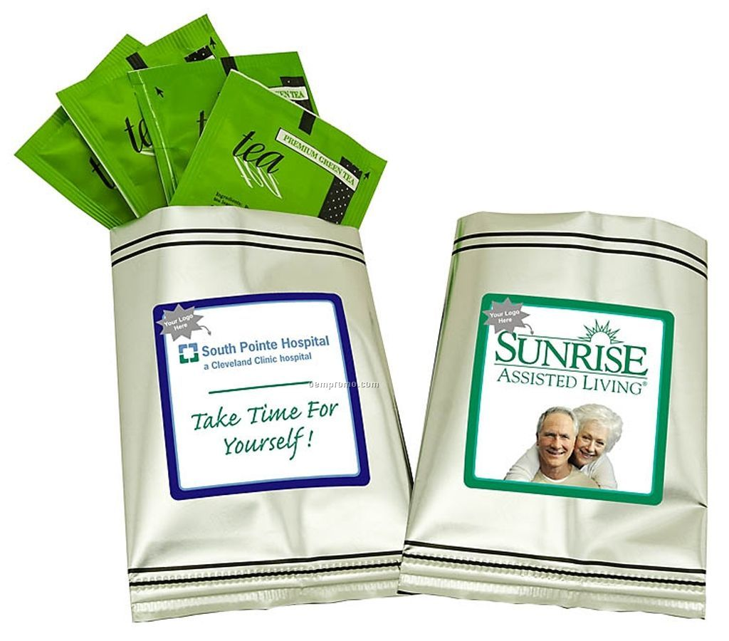 Healthcare Green Tea Sampler W/ Silver Foil Packaging (Printed Label)