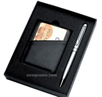 Pen With Money Clip & Leatherette Card Holder
