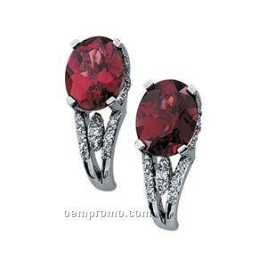 14kw 9x7 Genuine Rhodolite Garnet & 1/6 Ct Tw Diamond Round Earring