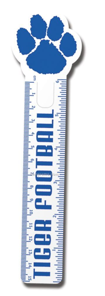 "6"" Flexible Ruler/Bookmark With Paw Print End"