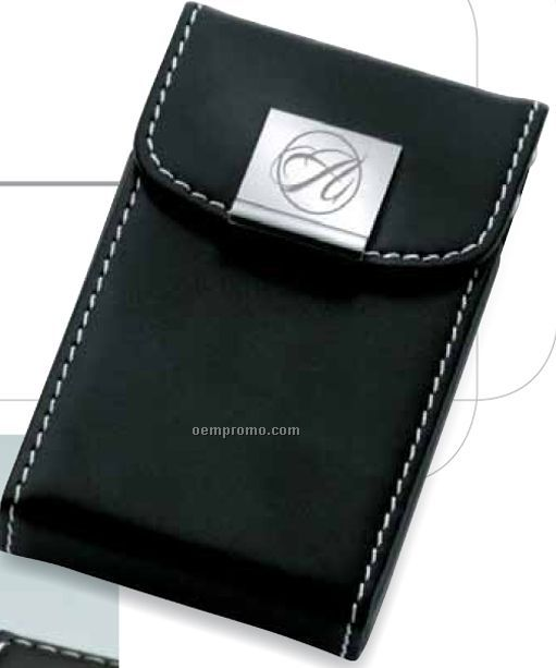 Black Leatherette Card Case W/ Snap Closure