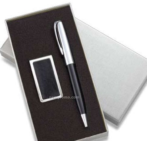 Black/Silver Pen & Money Clip Set