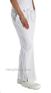 Flare Leg Scrub Pants With Tie Waist