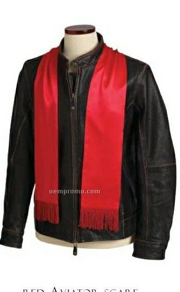 Wolfmark 100% Silk Aviator Scarf - Red