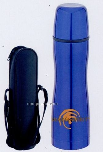 22 Oz. Blue Thermos Bottle With Curved Body