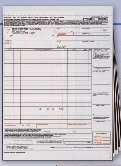 Bill Of Lading W/ Carbons (3 Part)