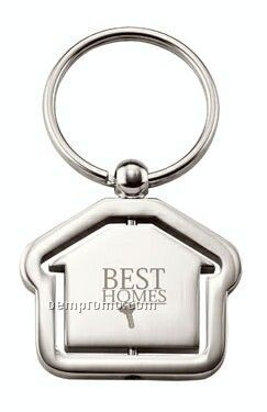 House Shaped Chrome Key Ring With Revolving Center