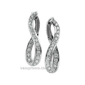 Ladies' 14kw 1 Ct Tw Diamond Round Earring