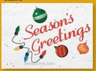 Season's Greetings Floral Seed Paper Holiday Card W/Stock Message