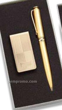 Gold Block Design Money Clip & Pen Set
