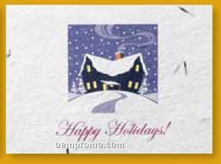 House In Snow Floral Seed Paper Holiday Card W/ Stock Message