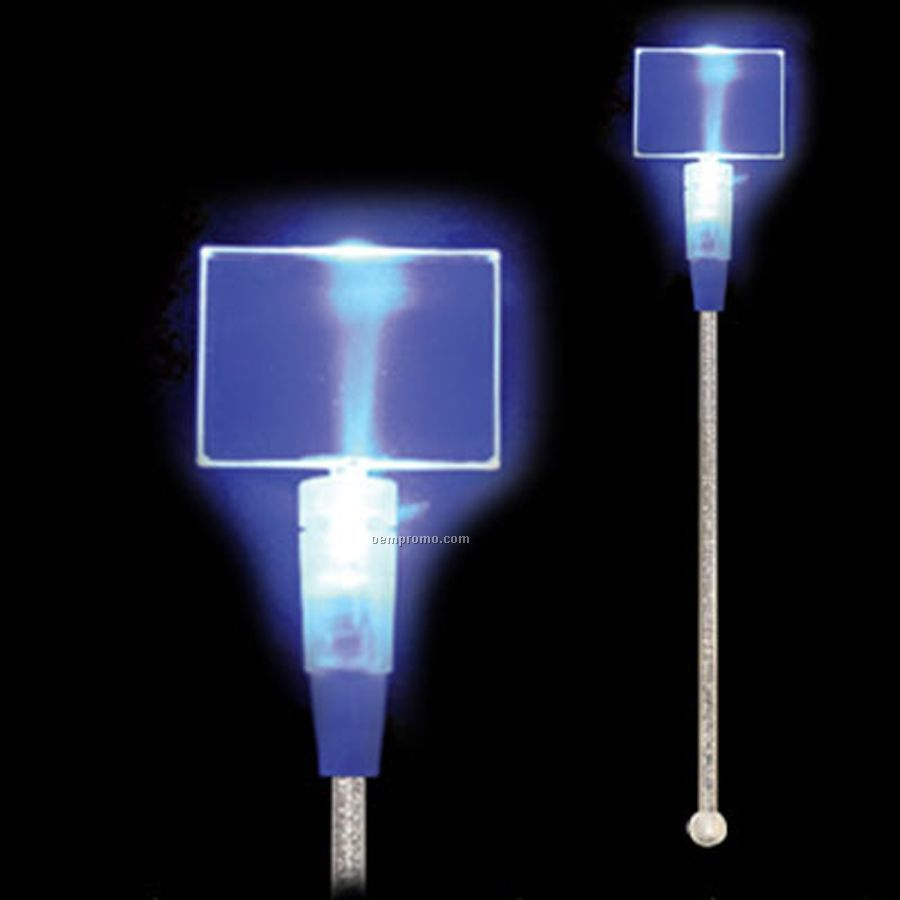 Light Up Stir Stick W/ Blue Rectangle Handle