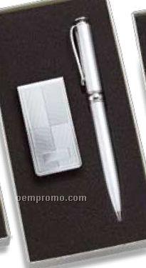 Silver Block Design Money Clip & Pen Set