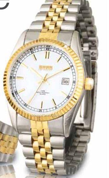 Watch Creations Ladies' 2 Tone Folded Bracelet Watch W/ White Face
