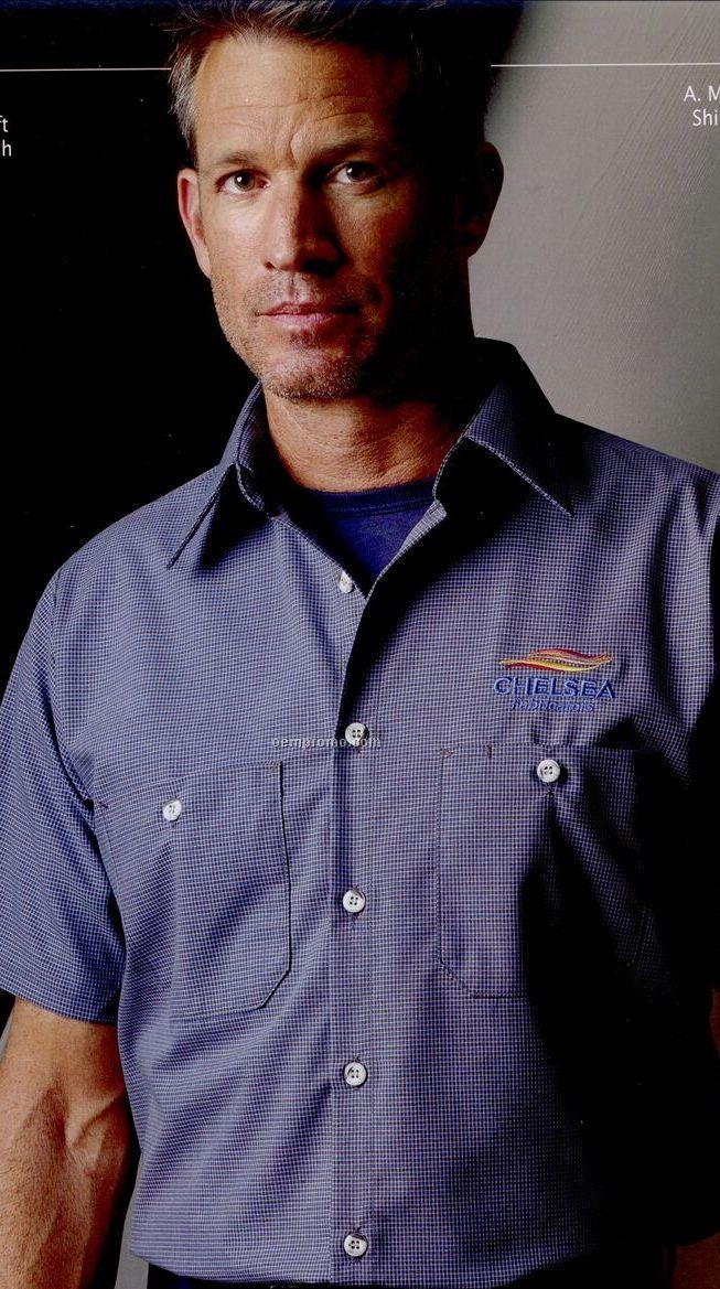 Khaki//Black Red Kap Men/'s Short Sleeve Micro Check Work Shirt