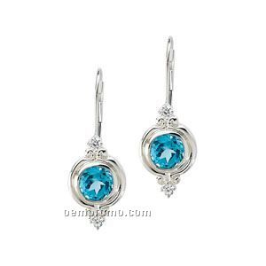 Sterling Silver Swiss Blue Topaz And Cubic Zirconia Earrings