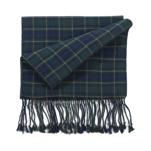 Windsor Green Blue Plaid Bamboo Muffler Scarf