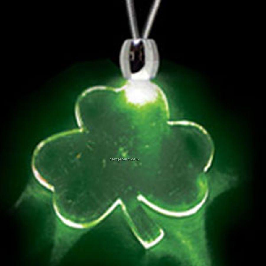 Green Acrylic Shamrock Pendant Light Up Necklace