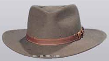 Wool Felt Crushable Pinched Fedora Hat W/ Leather Band