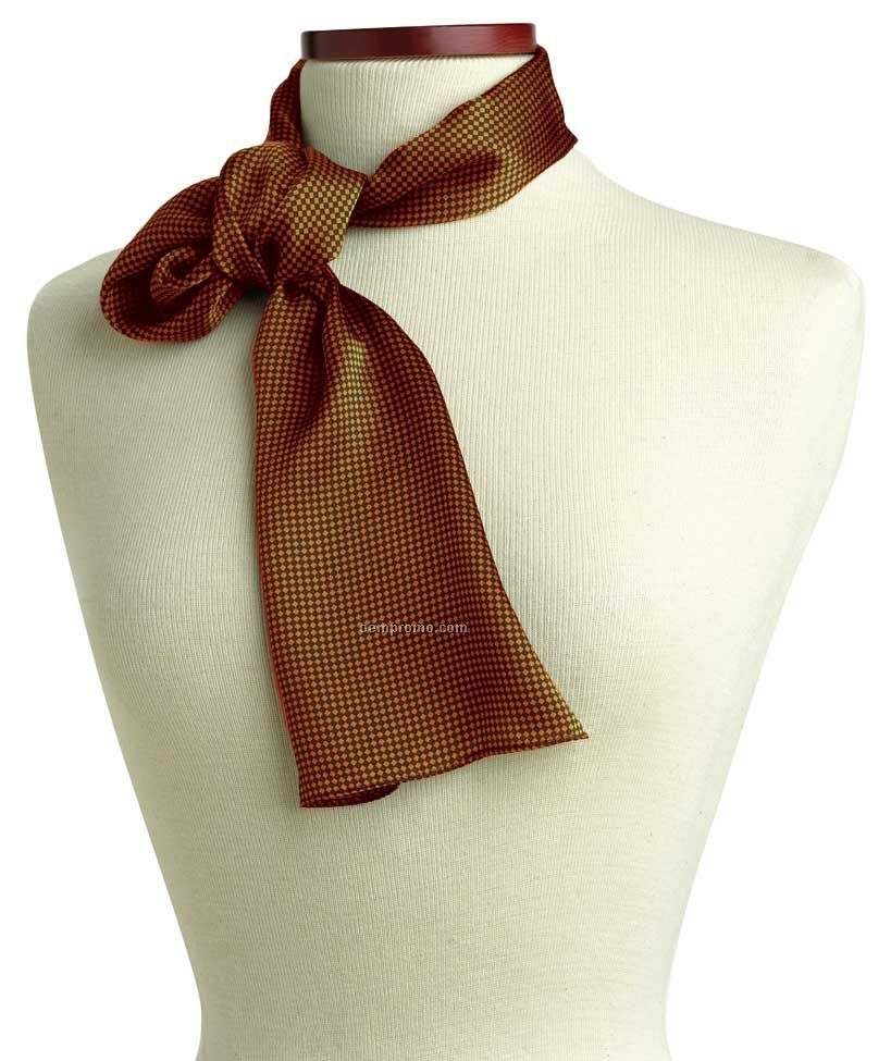 "Wolfmark Carlton Silk Scarf - Brown (8""X45"")"