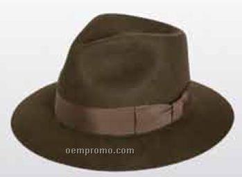Wool Felt Pinched Fedora Hat W/ Grosgrain Band
