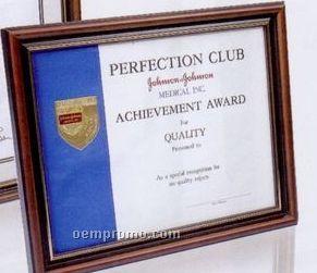 "11""X14"" Deluxe Polished Hardwood Certificate Frame W/ Walnut Stain"