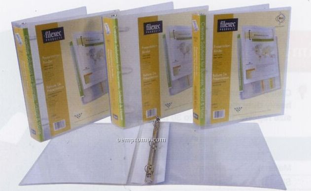 "Clear 3 Ring Binder With 2"" Ring & Removable Spine Pocket"