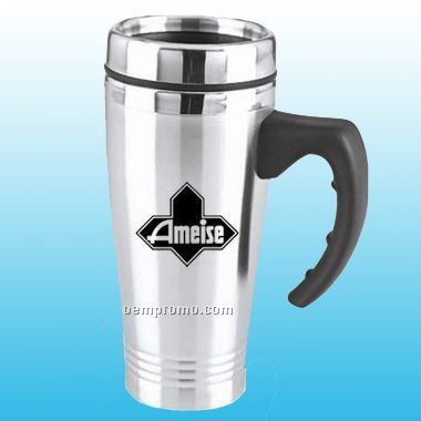 16 Oz Stainless Steel Mug W/ Plastic Liner (Screen Printed)