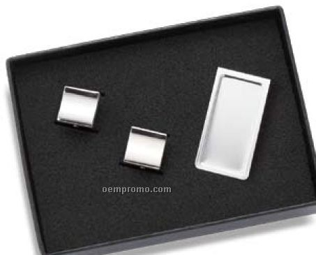 Rectangle Money Clip And Cufflinks Set