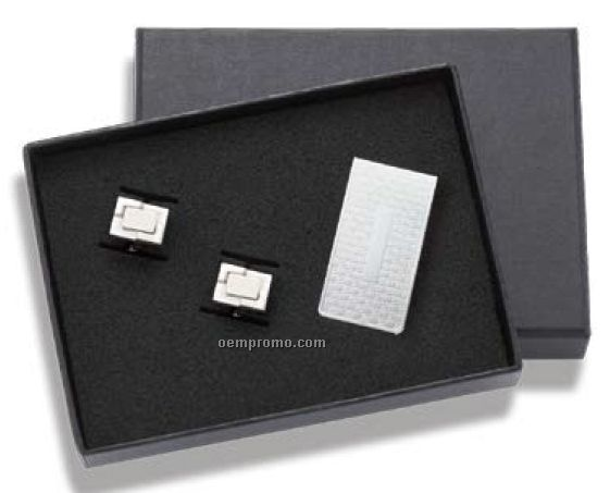 Basket Weave Design Money Clip And Cufflinks Set