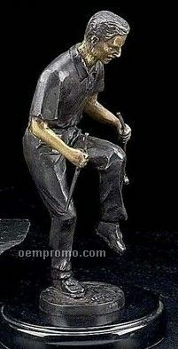 Bronzed Metal Upset Golfer Statue On Marble Base