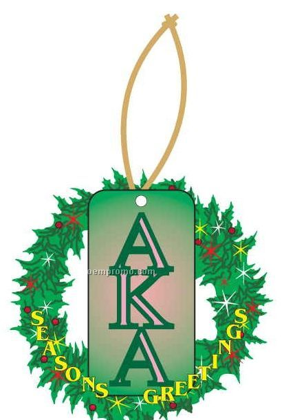 Alpha Kappa Alpha Sorority Letter Wreath Ornament/ Mirror Back(10 Sq. Inch)
