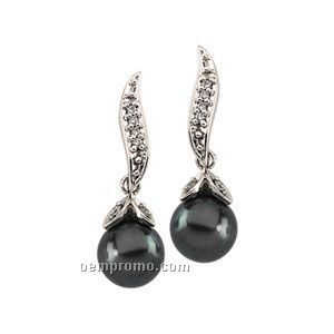 14kw Cultured Black Pearl And Diamond Earring