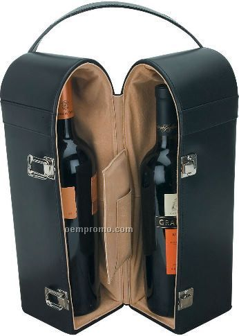 Double Wine Carrier In Elegant Leather Case