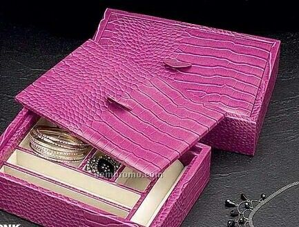 Valet Tray W Lid Pink Croco Leather China Wholesale