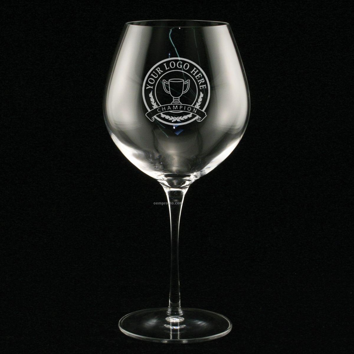 22 1/2 Oz. Estate Burgundy Glass (Set Of 2 - Deep Etch)